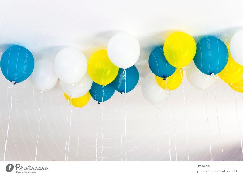Partey Lifestyle Party Veranstaltung Feste & Feiern Hochzeit Geburtstag Luftballon Zeichen hell blau gelb weiß Freude Fröhlichkeit Zufriedenheit Lebensfreude