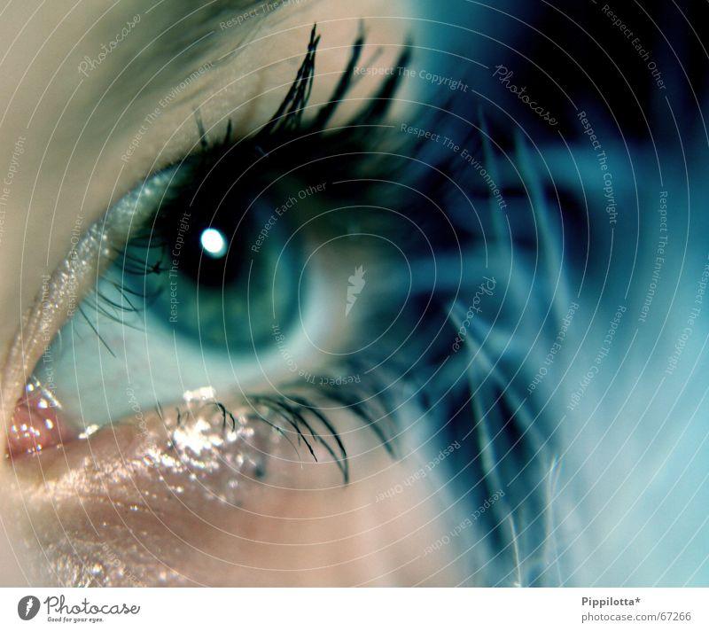 blickfang Mensch schön Gesicht Auge kalt braun glänzend Perspektive Aussicht weich Feder beobachten Klarheit zart entdecken Schminke