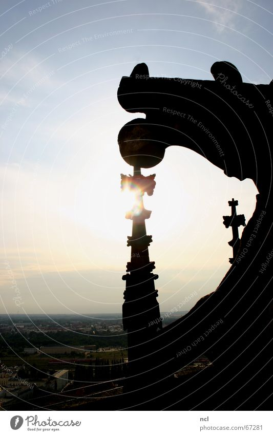 Magdeburger Dom Himmel Sonne Stadt Wolken Ferne Religion & Glaube Architektur Horizont Romantik Niveau Aussicht Dach Turm Dekoration & Verzierung Spitze