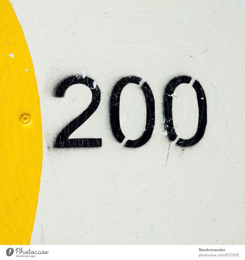 Selbstredend.... Spielen Glücksspiel Mauer Wand Zeichen Ziffern & Zahlen Schilder & Markierungen Geschwindigkeit gelb schwarz weiß 200 Zweihundert