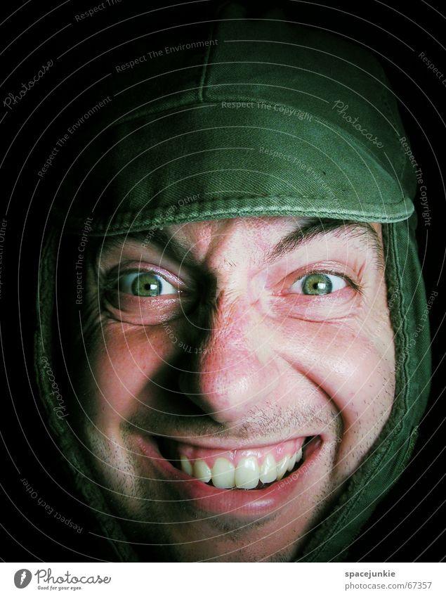 Palim, Palim Mensch grün Gesicht lachen Hut Mütze dumm Wiederholung grinsen Freak Wäsche