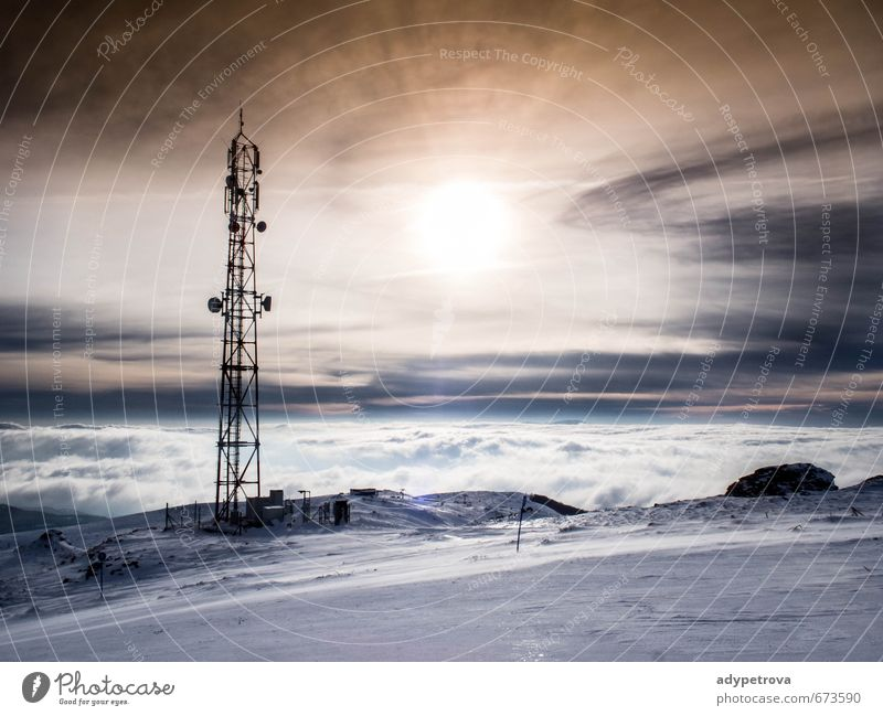 Sonnenuntergang Natur Landschaft Himmel Wolken Sonnenaufgang Sonnenlicht Winter Klimawandel Wetter schlechtes Wetter Nebel Eis Frost Schnee Feld