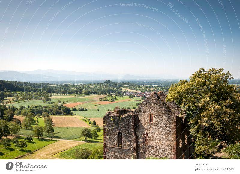 Ländle Natur schön Sommer Erholung Ferne Wiese Horizont Feld Tourismus Ausflug Schönes Wetter Burg oder Schloss Wolkenloser Himmel Ruine ländlich sommerlich