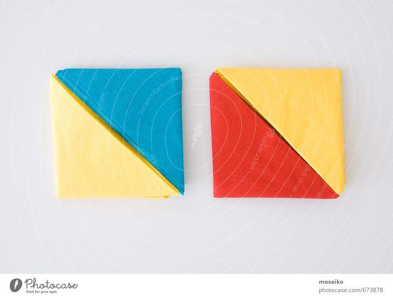 farbige Servietten Büffet Brunch Festessen Kaffee Lifestyle Freude Sommer Dekoration & Verzierung Tisch Küche Kunst Papier genießen lustig blau gelb rot