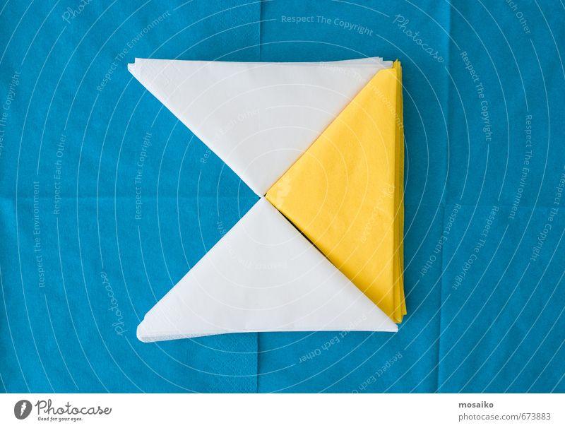 farbige Servietten Büffet Brunch Festessen Kaffee Lifestyle Freude Sommer Dekoration & Verzierung Tisch Küche Kunst Papier genießen lustig Sauberkeit blau gelb