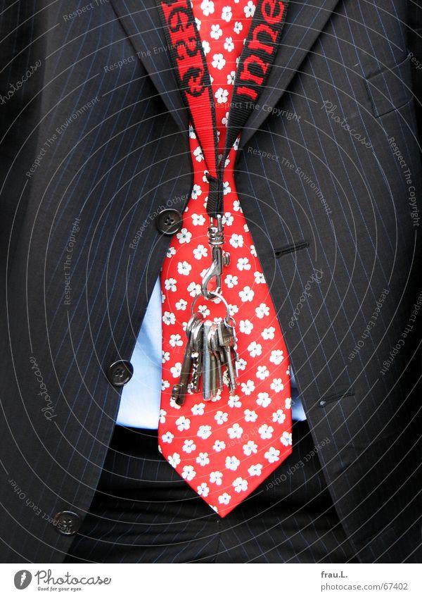 mein Nachbar Hausschlüssel außergewöhnlich Krawatte Blume Muster Schlüssel Anzug Nadelstreifen Feierabend Hemd Hose Geschäftsleute Freundlichkeit Mut