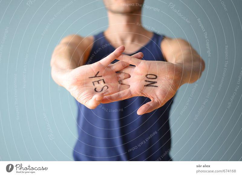 VIELLEICHT Telekommunikation Karriere Sitzung sprechen Mensch maskulin Oberkörper Hand Handfläche 1 Muskelshirt Unterhemd Schriftzeichen blau Toleranz yes no