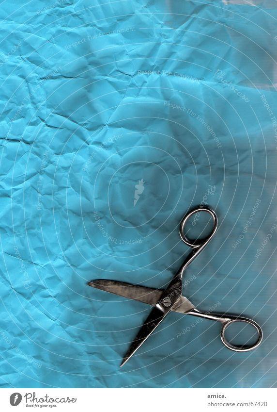 schnipp...schnapp.. blau dunkel hell Papier Falte silber Eisen Schere Werkzeug
