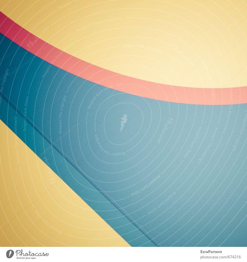 lohnt sich Kunst Zeichen Linie Streifen leuchten ästhetisch trendy blau gelb rot Design Strukturen & Formen gerade gebeugt Grafische Darstellung