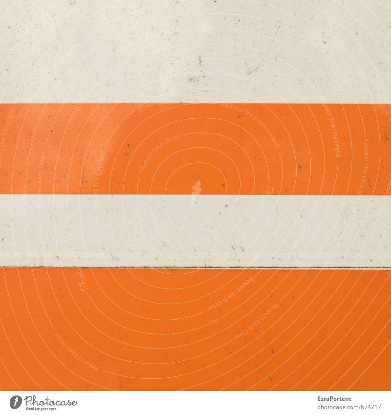 straight Kunst Mauer Wand Fassade Metall Schilder & Markierungen Hinweisschild Warnschild Linie Streifen dreckig orange weiß Design Strukturen & Formen
