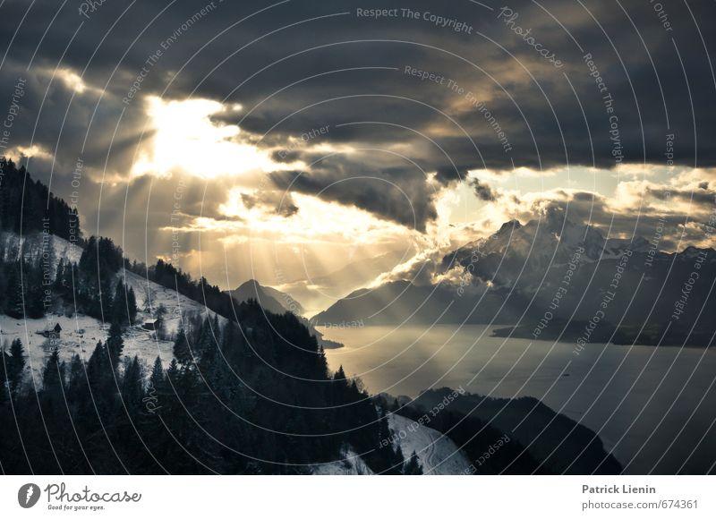 Erleuchtung Himmel Natur Wasser Baum Landschaft Wolken Winter Wald Umwelt Berge u. Gebirge Schnee See Felsen Stimmung Luft Wetter