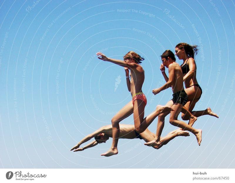NOCHMAL.aber gescheit Mensch Ferien & Urlaub & Reisen Hand Freude Beine Freiheit Fuß springen Luft Angst frei Finger geschlossen Nase Freundlichkeit rein