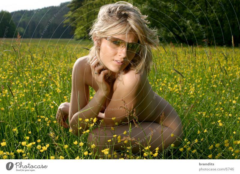 Akt im Grünen 3 Frau Blume Wiese Brille blond Sonnenbrille Mensch