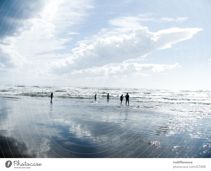 clouds and water reflection Himmel Strand Mensch Sommer sky Sand wave sea tuscany