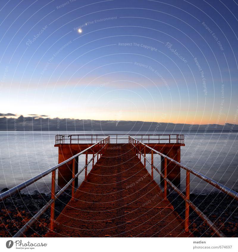 luar Landschaft Wasser Himmel Nachthimmel Horizont Sonnenaufgang Sonnenuntergang Mond Frühling Wetter Schönes Wetter Küste Strand Meer Menschenleer blau braun