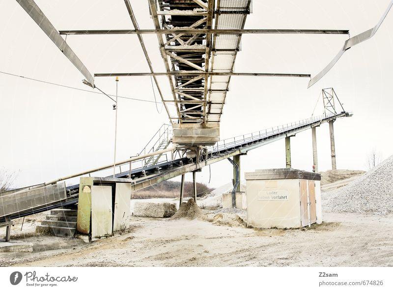 Industrieromantik 7 Baustelle Erde Sand Himmel Bauwerk Gebäude Architektur Förderband dreckig Billig trashig ruhig Einsamkeit elegant Güterverkehr & Logistik