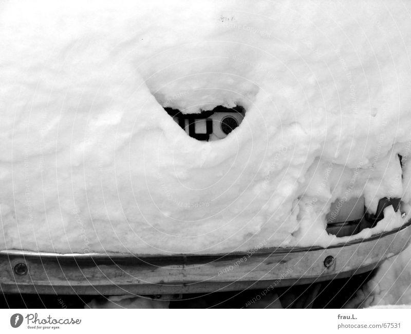 versteckt alt Winter kalt Schnee PKW klein lustig Suche Schriftzeichen Buchstaben niedlich verstecken parken Straßenverkehr Schaufel Straßenrand
