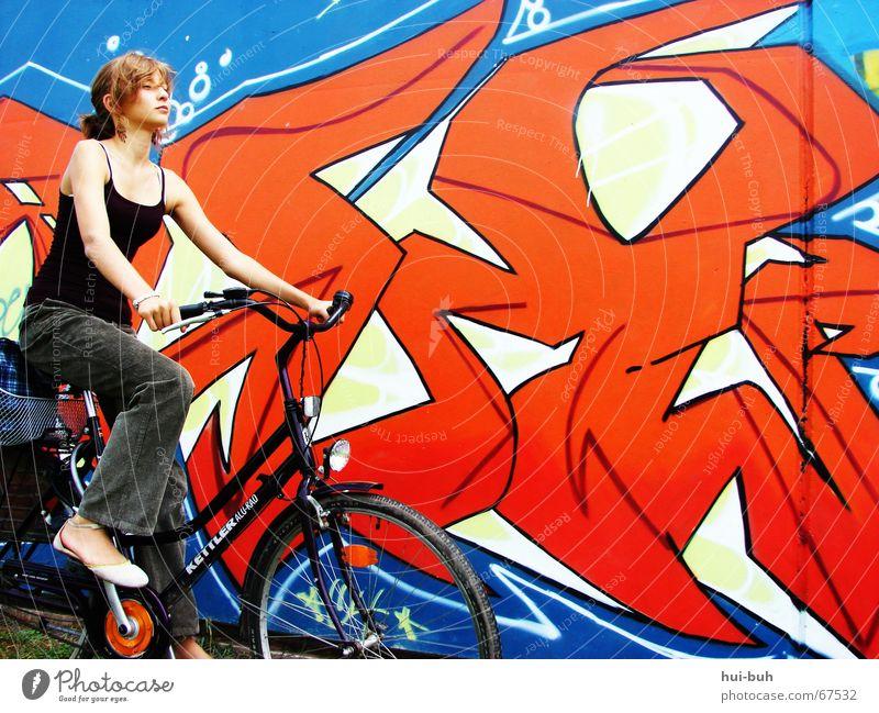 drive away-angebote Fahrrad rot lässig lustig Hose Motorradfahrer violett Top Schuhe Hand fahren Licht grafity Farbe Coolness blau fortbewegen dynamo
