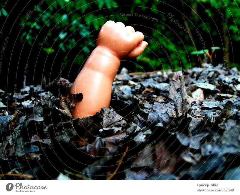 Lost Hand Blatt Einsamkeit Wald dunkel Arme Spielzeug Puppe verloren Faust verrotten Hilfsbedürftig beerdigen