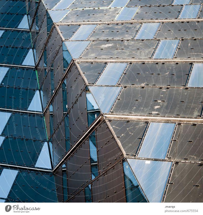 Fassade elegant Stil Bauwerk Gebäude Architektur Fenster Coolness trendy einzigartig modern blau grau Perspektive Zukunft Farbfoto Außenaufnahme abstrakt Muster