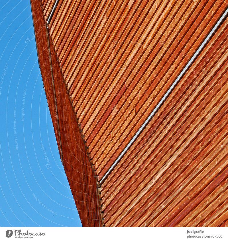 Arche 2 Hannover Holz braun graphisch Licht Richtung modern Weltausstellung ungarischer pavillon Himmel blau Linie Strukturen & Formen Architektur