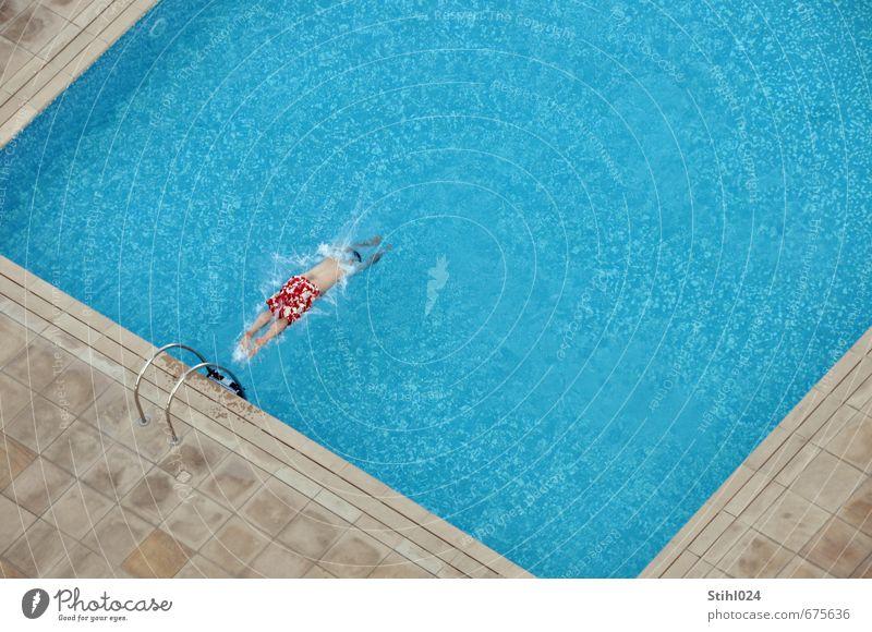Splash! # 50 Mensch Mann blau Wasser rot Freude kalt Erwachsene Schwimmen & Baden Glück springen maskulin Körper 45-60 Jahre frisch nass