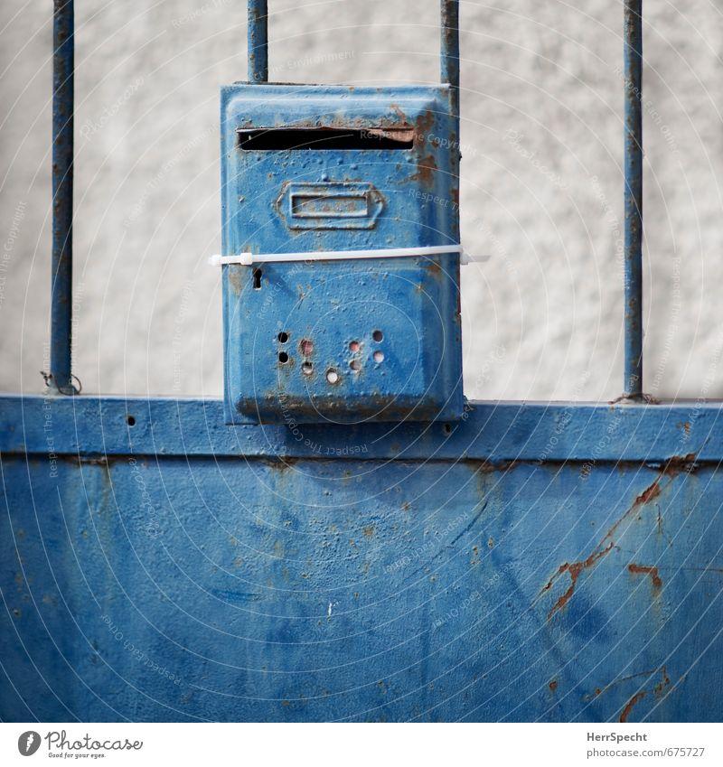 Bindung alt Stadt Wand Mauer außergewöhnlich Metall Tür ästhetisch kaputt Rost trashig Problemlösung Briefkasten ankern Einfamilienhaus Israel