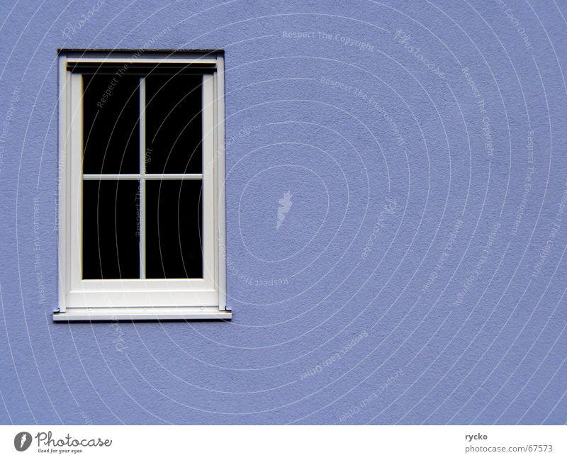 Fenster blau Haus Wand Fenster geschlossen Aussicht Baustelle Teilung fremd Rahmen Versteck Einblick