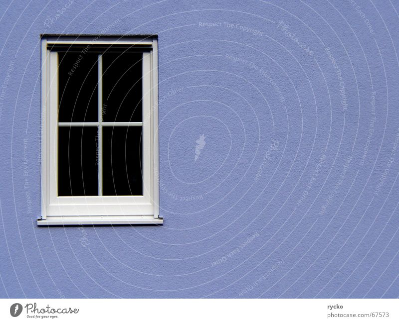 Fenster Haus Wand Aussicht Einblick geschlossen fremd Blick blau Baustelle Rahmen Teilung Versteck