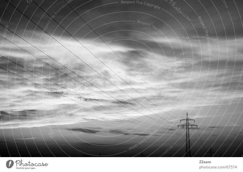 away in the nothing II Wolken Elektrizität Strommast Himmel Linie Abend Schwarzweißfoto Ferne lines sky clouds Wege & Pfade