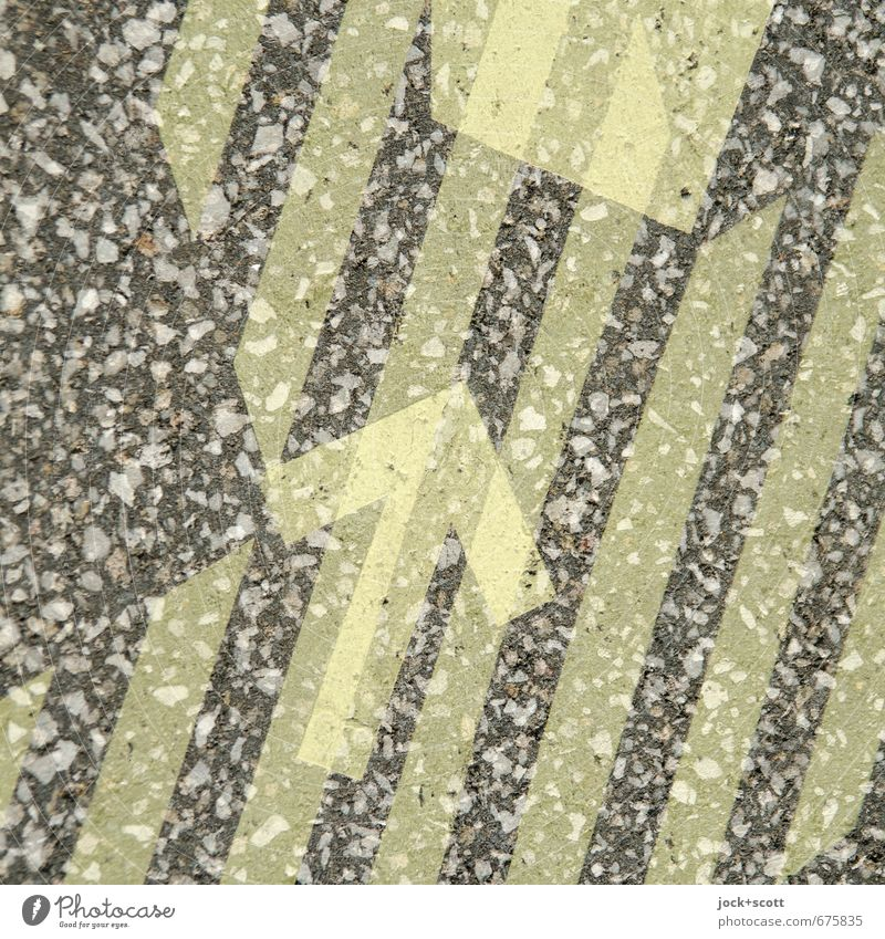 Pfeil mit Ziel durch Streifen Stil Grafik u. Illustration Verkehrswege Wege & Pfade Zeichen einzigartig positiv gelb Stimmung achtsam Ordnungsliebe kompetent