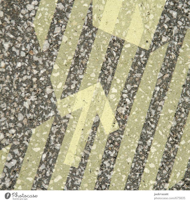 Pfeil mit Ziel Stil Grafik u. Illustration Verkehrswege Fußgänger Wege & Pfade Zeichen Streifen Netzwerk fest gut einzigartig positiv gelb Stimmung