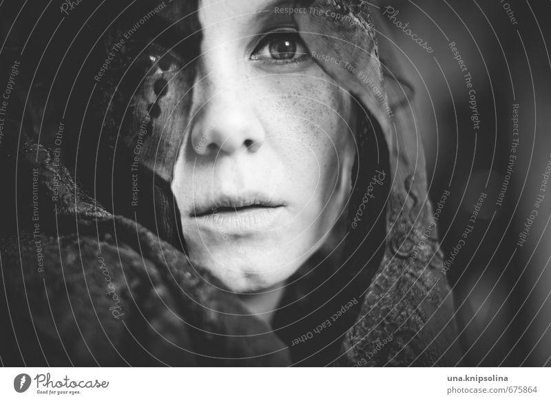 schleier schön Frau Erwachsene 1 Mensch 18-30 Jahre Jugendliche Spitze Kopftuch träumen Traurigkeit Gefühle Gesellschaft (Soziologie) Glaube Religion & Glaube