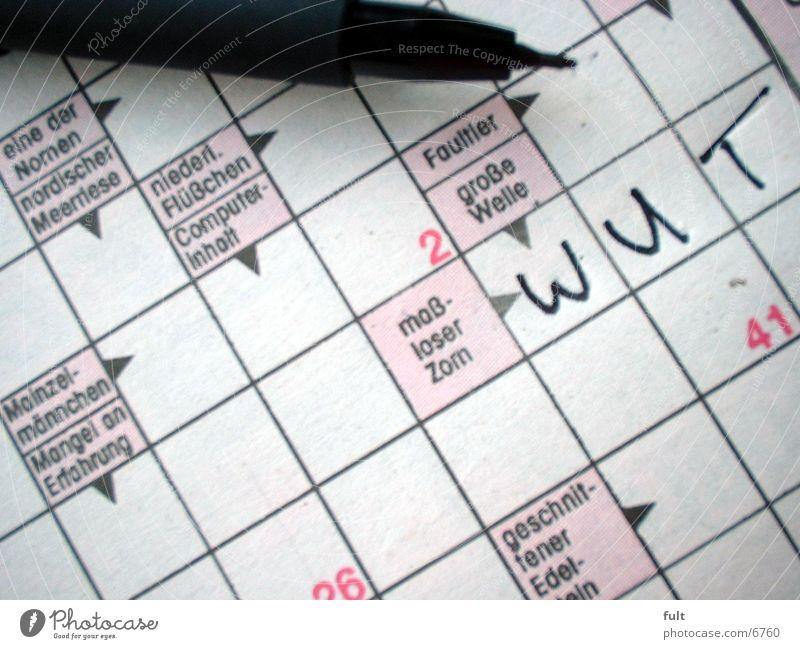 Rätsel Schreibstift Papier Wut Dinge Kreuzworträtsel Bildung Freizeit & Hobby Text Lateinische Schrift Großbuchstabe Typographie