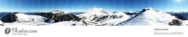 360° Berge blau weiß Sonne Landschaft Ferne Winter schwarz Berge u. Gebirge Schnee Freiheit Horizont Aussicht groß Schönes Wetter Gipfel Unendlichkeit