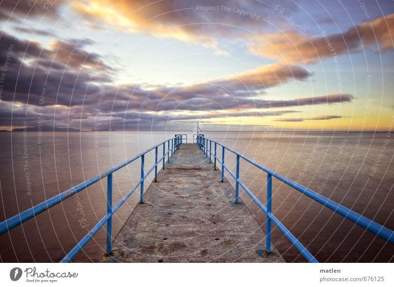 Laufsteg Natur Landschaft Wasser Himmel Wolken Horizont Sonnenaufgang Sonnenuntergang Frühling Wetter Schönes Wetter Küste Meer Insel Menschenleer blau gold