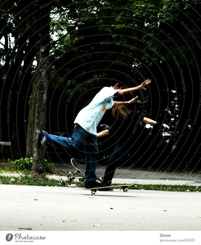 two one foot wheelies Zufriedenheit 2 fahren Skateboarding Richtung Trick
