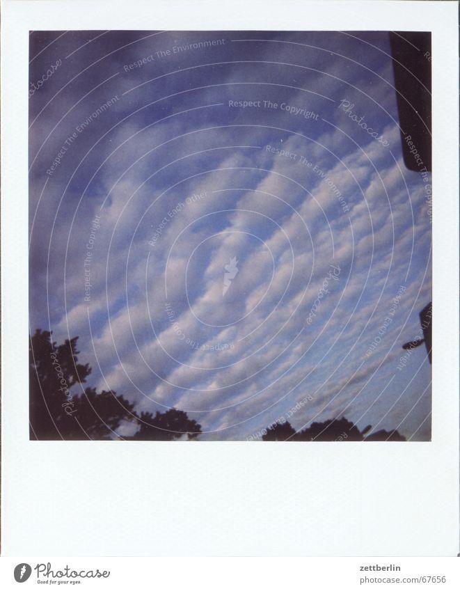 Polaroid VII Himmel blau Wolken diagonal Neigung Kumulus Atmosphäre Wolkenhimmel Wolkendecke Wolkenbild Wolkenfeld