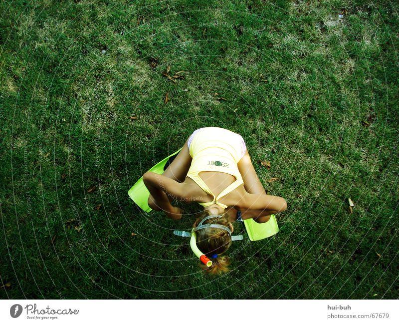 ebbe Gras Schulter Schwimmhilfe Brille Badeanzug gelb grün Suche finden Quaken unten rechts links mehrere Mikroorganismen schwarz Esprit grass swimming head