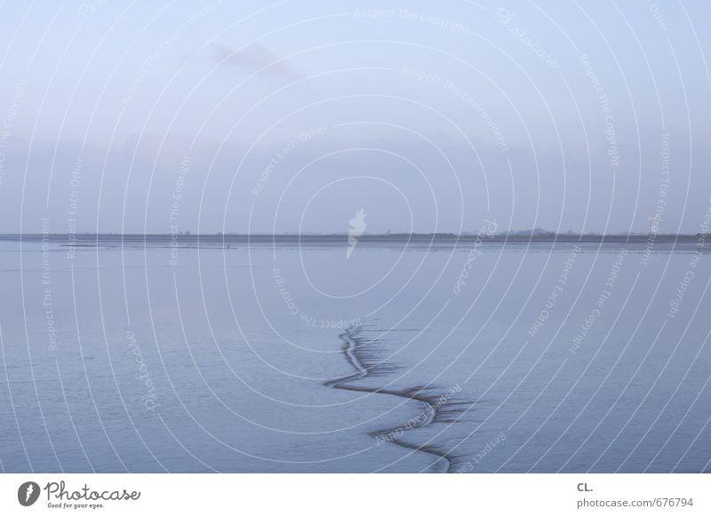 egal wie weit Umwelt Natur Landschaft Wasser Himmel Wolken Winter Küste Seeufer Nordsee Meer Insel Unendlichkeit blau ruhig Sehnsucht Fernweh Beginn Einsamkeit