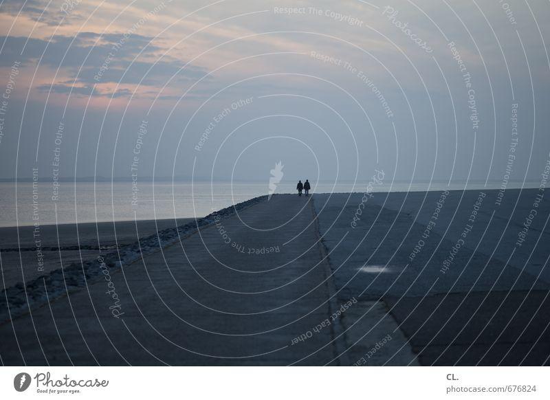 ein guter weg Mensch Himmel Natur Ferien & Urlaub & Reisen Wasser Meer Landschaft ruhig Ferne Strand Umwelt Wege & Pfade Küste Freiheit Horizont Paar