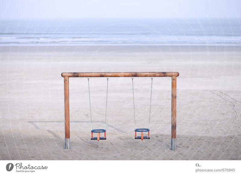 etwas fehlt Himmel Natur Ferien & Urlaub & Reisen Meer Einsamkeit Landschaft Ferne Strand Umwelt Küste Freiheit Sand Horizont Freizeit & Hobby Wellen Kindheit