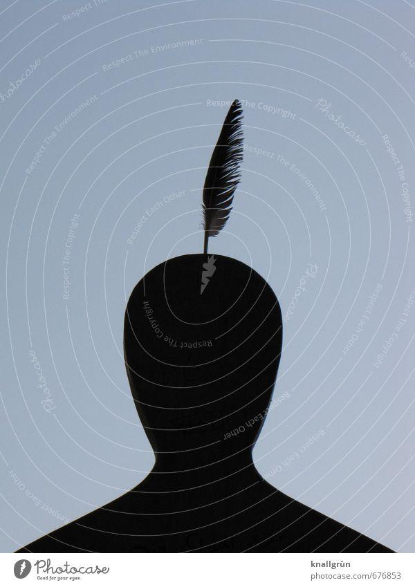 Stadtindianer Mensch maskulin Mann Erwachsene Kopf 1 Kunst Skulptur Feder außergewöhnlich einzigartig oben grau schwarz Gefühle Freude Idee Inspiration