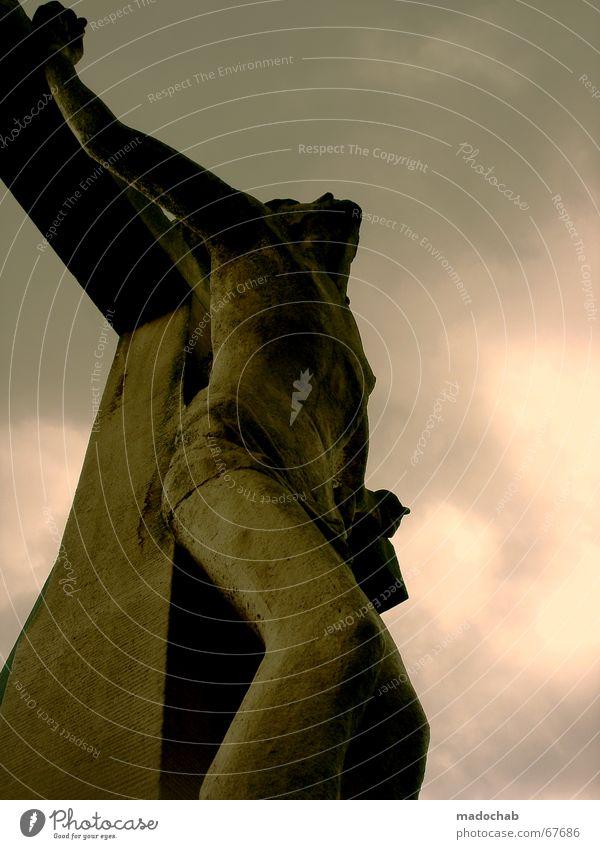 Jesus Gekreuzigt Glaube Religion Hoffnung Rettung Erlösung Himmel Wolken Tod Leben dunkel Freiheit Religion & Glaube Traurigkeit Kraft Rücken Beginn frei