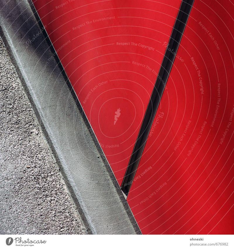 Red Wall Gebäude Architektur Mauer Wand Fassade Straße Linie rot Farbfoto Außenaufnahme abstrakt Muster Strukturen & Formen Menschenleer Textfreiraum links