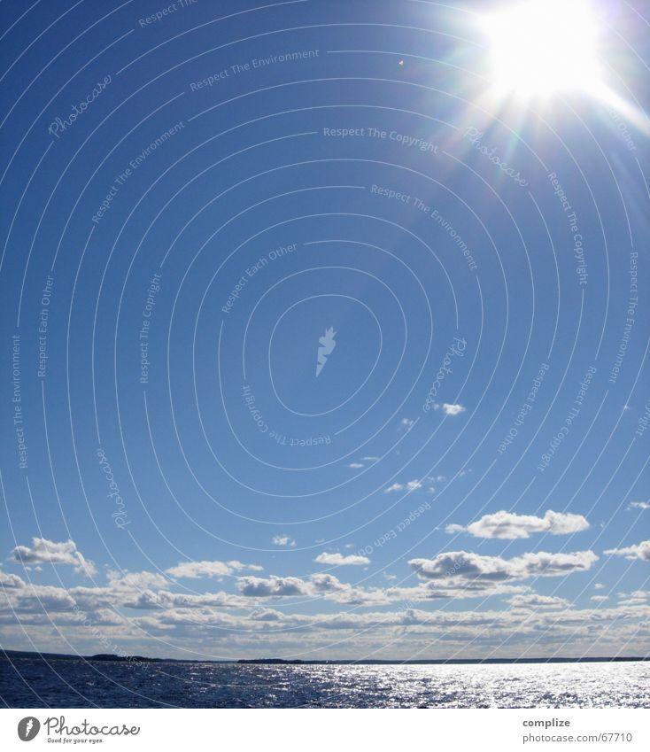 lappajärvi See Meer Finnland Skandinavien Küste Sonnenstrahlen Ferien & Urlaub & Reisen Wasserfahrzeug Wolken Sommer Horizont rein ökologisch Sommerurlaub