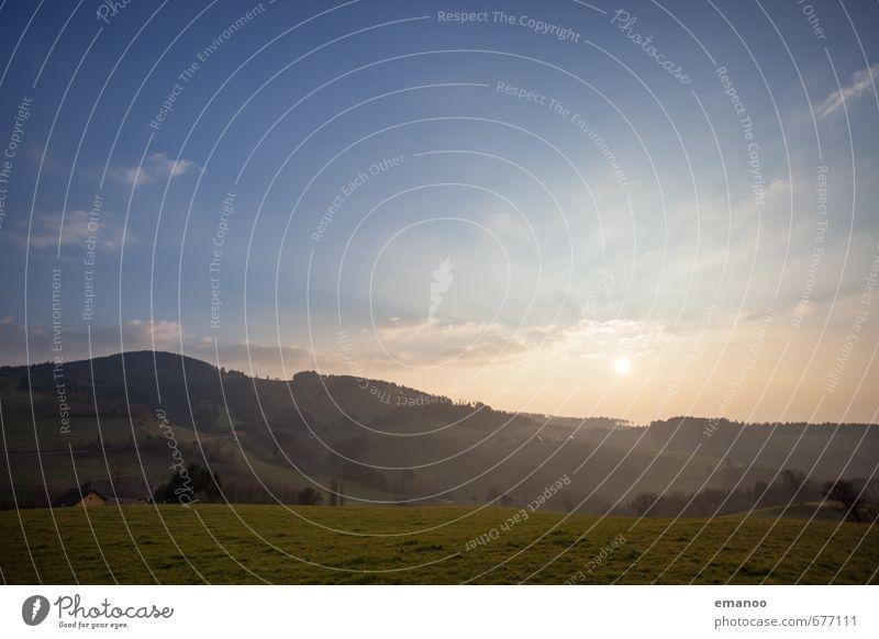 Ein Abend in der Vorbergzone Himmel Natur Ferien & Urlaub & Reisen blau grün Pflanze Sonne Landschaft Wolken Wald Berge u. Gebirge Wiese Park Wetter Feld