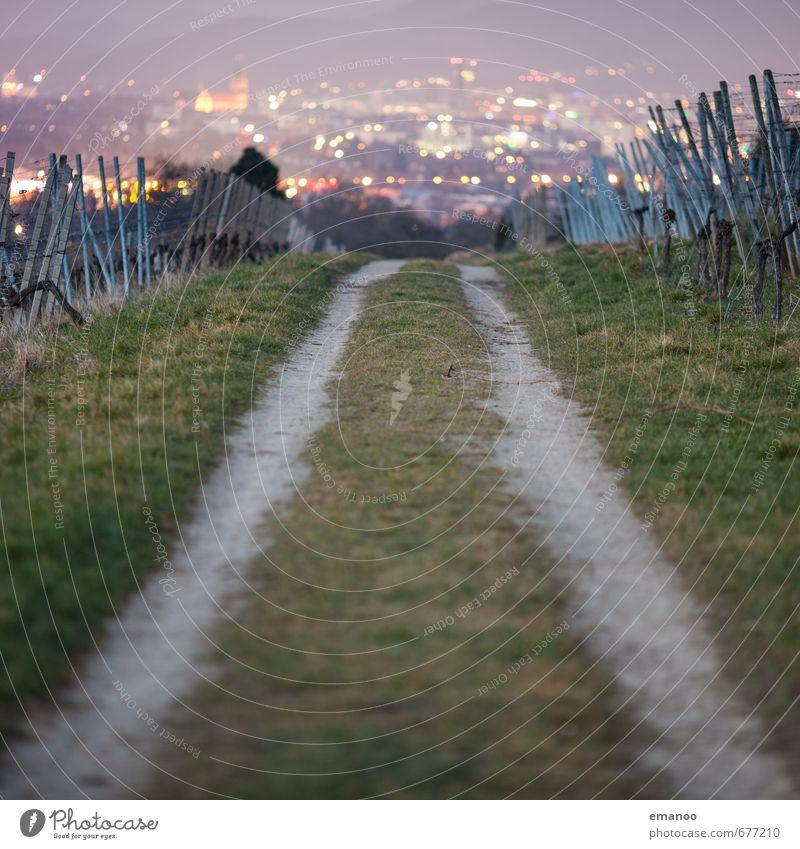 Der Weg in die Stadt Natur Ferien & Urlaub & Reisen Stadt Pflanze Landschaft Haus Berge u. Gebirge Straße Wege & Pfade Gras Gebäude Feld leuchten wandern hoch Ausflug