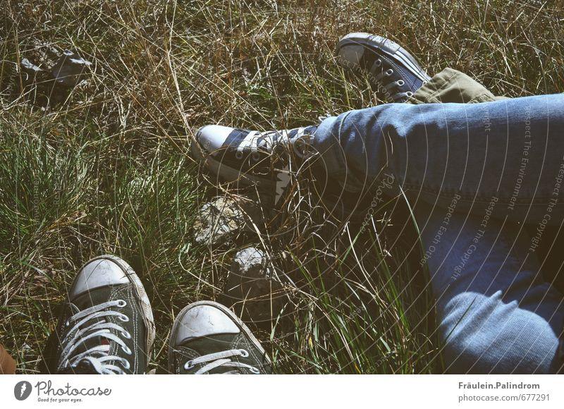Pause im Partnerlook. Mensch grün Sommer Einsamkeit Erholung ruhig Umwelt Wiese Bewegung Gras Frühling Beine Fuß liegen Freundschaft Park