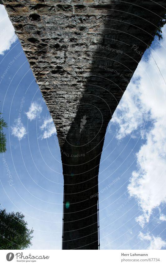 Viadukt der Rhätischen Bahn Himmel Mauer Brücke Schweiz Kanton Graubünden Rhätische Bahn